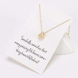 Dainty Conch Seashell Gold Pendant Necklace & Card